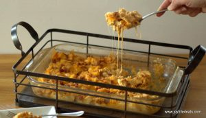 BBQ Chicken Casserole dish in a metal basket