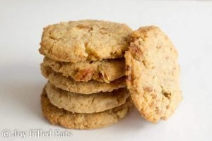 stack of 5 butter pecan cookies with one leaning against it