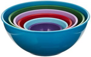 6 piece set colorful mixing bowls
