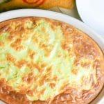 oval dish with artichoke feta breakfast casserole