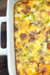 off centered view of low carb breakfast casserole