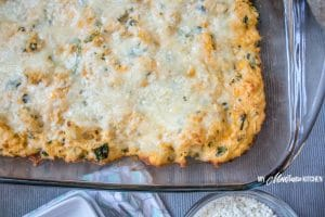 buffalo chicken casserole in a glass dish