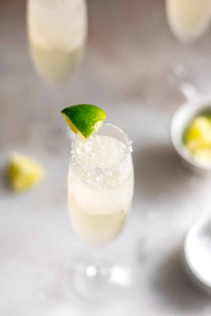 overhead close up shot of one serving of champagne margarita