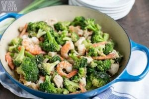 Chicken and Shrimp Stir Fry with broccoli in a pot