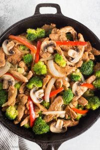 Keto Low Carb Chicken Stir Fry in a cast iron skillet