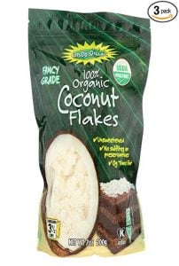a bag of organic coconut flakes