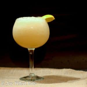 wine glass of bubbly frozen lemonade