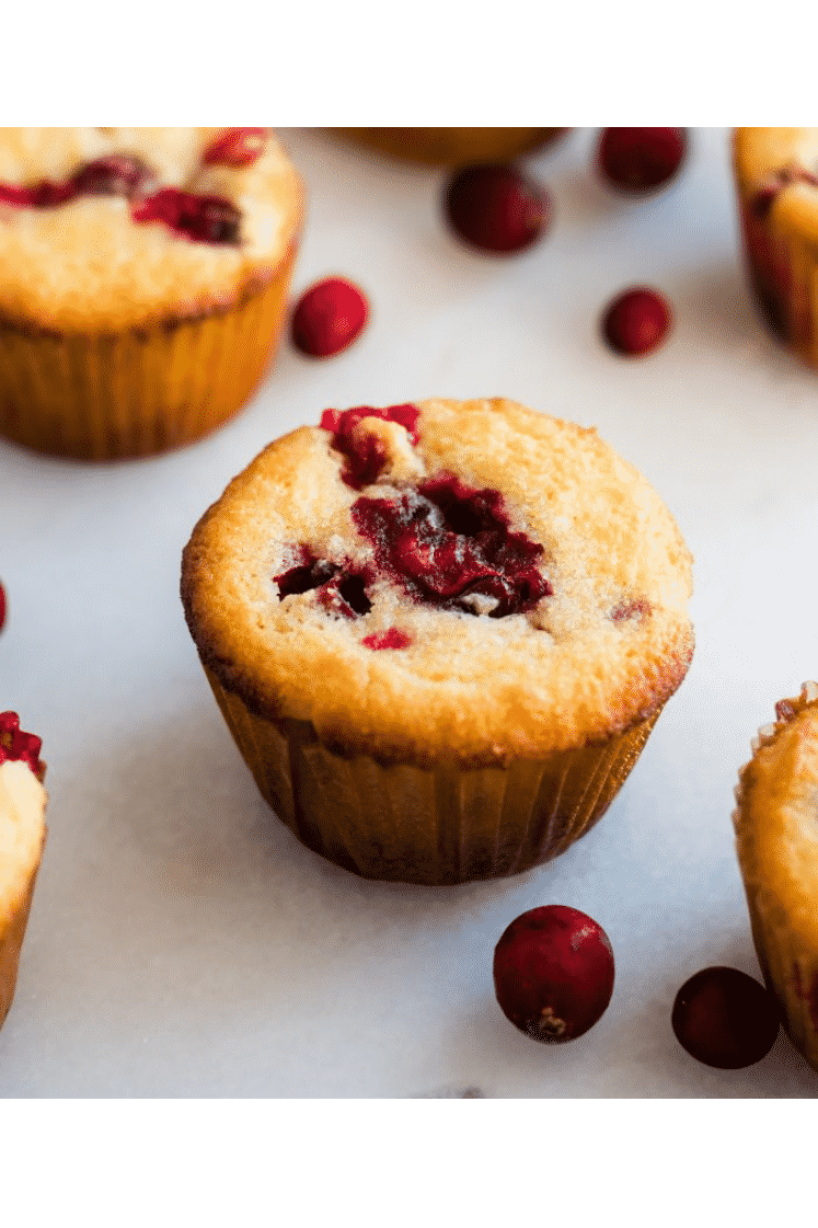 hero shot keto cranberry muffins and cranberries