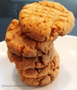 stack of 5 Low carb peanut butter cookies