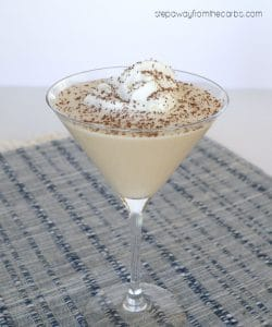 low carb chocolate cream pie martini with whip cream