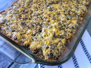 corner view of keto breakfast casserole with sausage