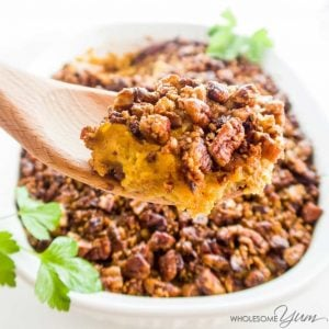 Healthy Low Carb Sweet Potato Casserole being scooped out of a dish