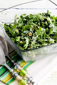 Baby Arugula Salad with Lemon, Balsamic, Parmesan, and Pine Nuts