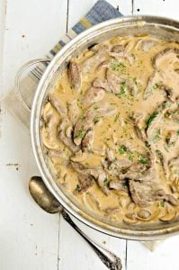 Easy Homemade Low Carb beff Stroganoff in a pot with copper spoon