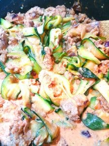 """Closeup of keto """"beef"""" Stroganoff with Zucchini noodles"""