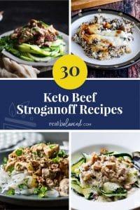 30 Keto Beef Stroganoff Recipes round up pinterest graphic
