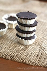 a stack of Better-than-Mounds Chocolate Coconut Cups