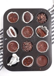 Chocolate Chai Fat Bombs in mini muffin tin