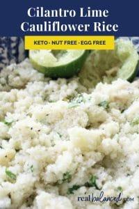 Cilantro Lime Cauliflower Rice recipe pinterest image