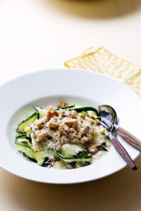 White Bowl with Low Carb Beef Stroganoff with Blue Cheese and Utensils