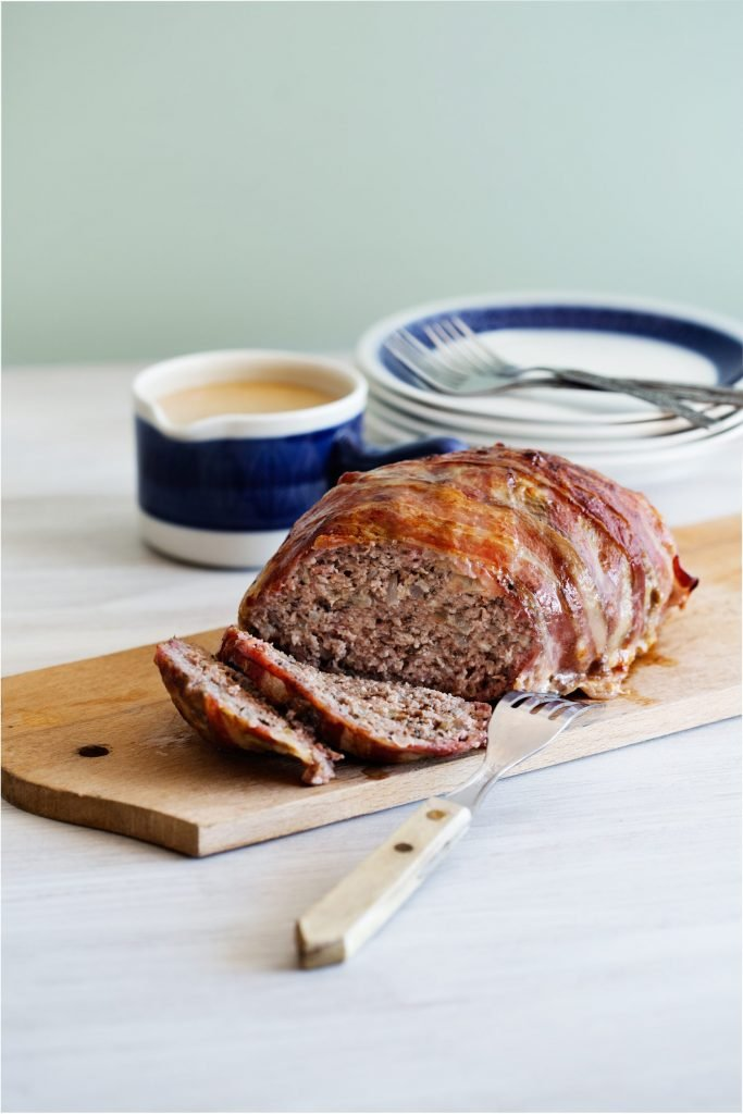 Bacon-Wrapped Keto Meatloaf with Creamy Gravy