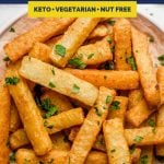 Golden Jicama Fries Recipe Pinterest Image