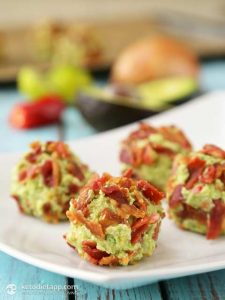 Bacon & Guacamole Fat Bombs on a rectangular plate