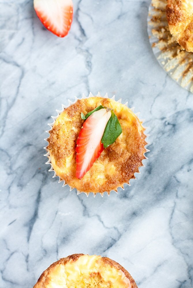 overhead shot of one strawberry cream cheese muffin