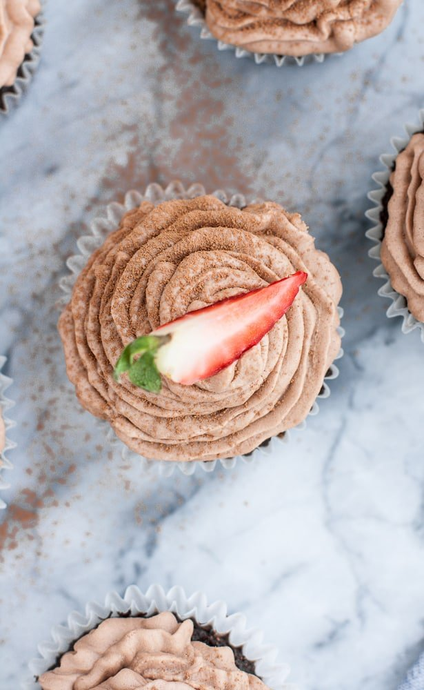 close up picture of Low Carb Chocolate Strawberry Cupcakes