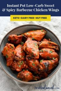 Instant Pot Low-Carb Sweet and Spicy Barbecue Chicken Wings pinterest image