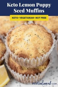Keto Lemon Poppy Seed Muffins recipe pinterest image