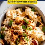 Keto Loaded Cauliflower Salad recipe pinterest image