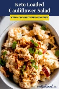 Keto Loaded Cauliflower Salad recipe pinterest image