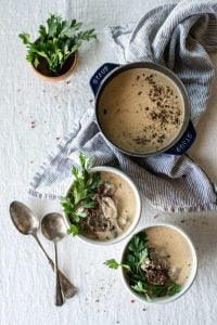 Keto Beef Stroganoff Soup in a pot and 2 bowls