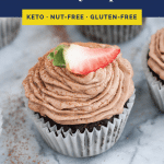 Low Carb Chocolate Strawberry Cupcakes recipe pinterest graphic