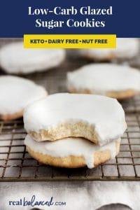 Low-Carb Glazed Sugar Cookies recipe pinterest image