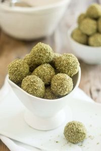 Matcha Coconut Fat Bombs in a white bowl