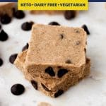No-Bake Chocolate Chip Almond Butter Fat Bomb Bars recipe pinterest image