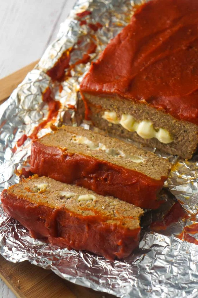 Cheese Stuffed Ground Chicken Meatloaf