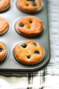 baked low carb lemon blueberry blender muffins