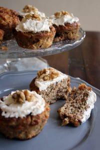 healthy carrot cake muffins on a plate
