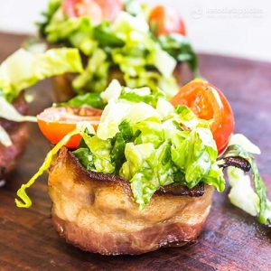 quick and easy keto BLT cups atop a wooden serving board