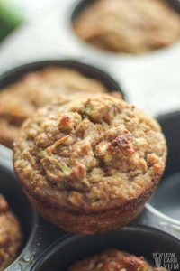 coconut flour zucchini bread muffins in muffin tin
