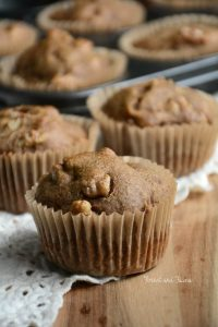 baked cinnamon walnut flax muffins on a cooling rack