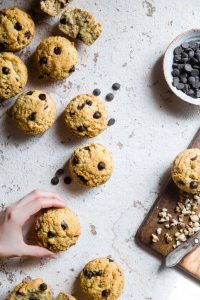 black walnut chocolate chip keto low carb muffins with almond flour
