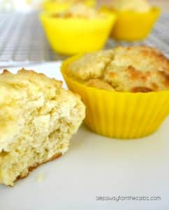 low carb lemon muffins in yellow silicone cupcake cups