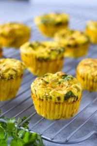 chicken and green chile egg muffins on a cooling rack