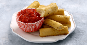 vegan keto mozzarella sticks with tomato dip