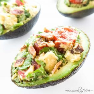 bacon lettuce and tomato stuffed avocado
