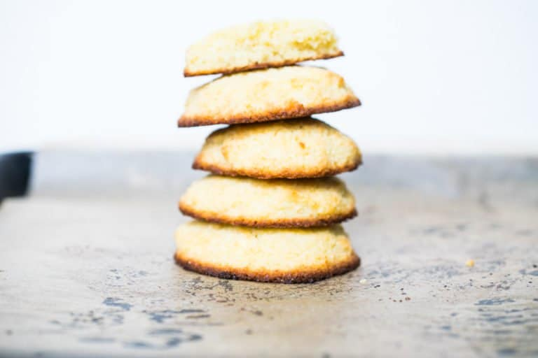 stack of 5 chewy keto coconut flour cookies